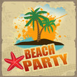 Tropical beach party poster
