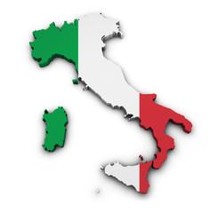 Italy Map Flag Shape