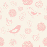 Floral seamless pattern in retro style with birds