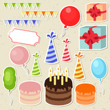 Set of vector birthday party elements for scrapbooking