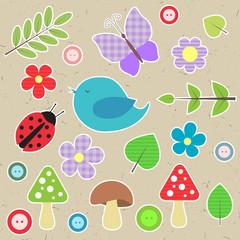 Set of scrapbook elements - animals, nature, buttons