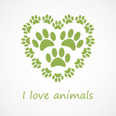 Animal foot print heart in eco style