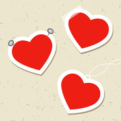 Set of heart tags with pins, tape and thread