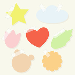 Set of paper stickers with tape for scrapbooking