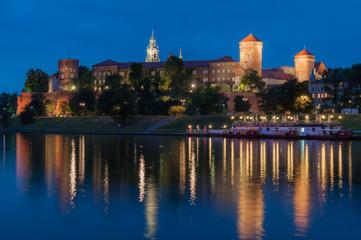 Wawel Royal Castle in Krakow in the late evening