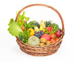 fruits and vegetables in basket isolated on a white