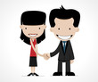 business handshake: female and male