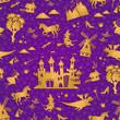 Obrazy na płótnie, fototapety, zdjęcia, fotoobrazy drukowane : seamless pattern with fairytale symbols