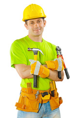 a worker holding hammer and steel cutter