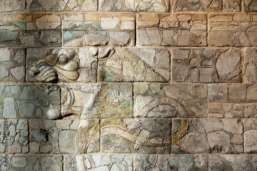 Ancient Babylonia and Assyria wall painting from Mesopotamia