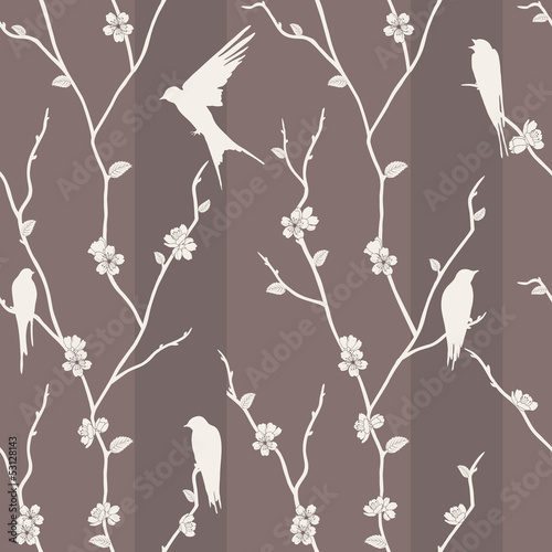 Seamless pattern with bird on sakura branches