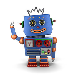 Waving vintage toy robot over white background