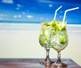 cocktail with lime and mint