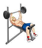 Cartoon illustration of a man exercising using weight bench