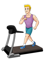 Cartoon illustration of a man on a treadmill