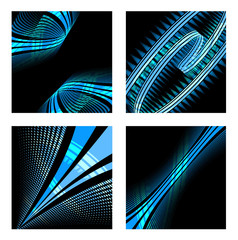 Set of abstract technology wave background
