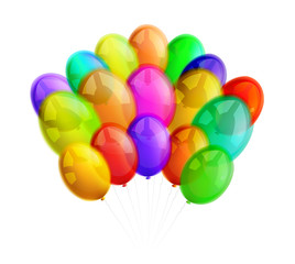 Multicolor balloons on white background