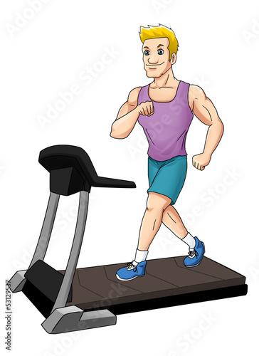Cartoon illustration of a man on a treadmill