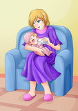 Cartoon illustration of a mother nursing her baby with pacifier