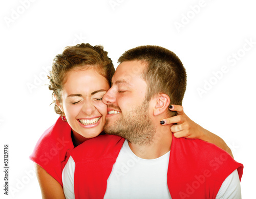 Portrait of young happy smiling couple