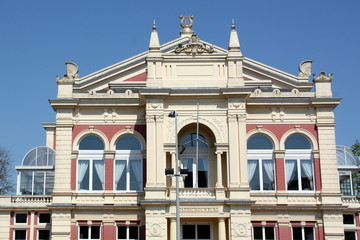 Facade of City Theater from 1883 in Groningen