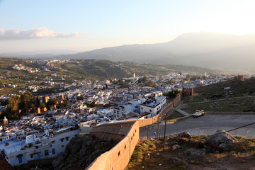View of the town Chefchaouen in Morocco