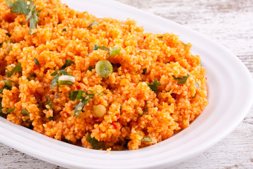 Kisir, Bulgur salad with tomato paste, parsley and onion