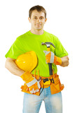 worker with tools isolated on white background
