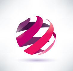 abstract red globe icon, energy concept