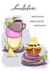 Einladung mit Kaffee, Tee und Muffin