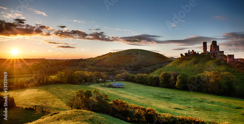Corfe Castle sunrise panoramic Dorset England - 53130969
