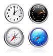 Clock, speedometer and compass set