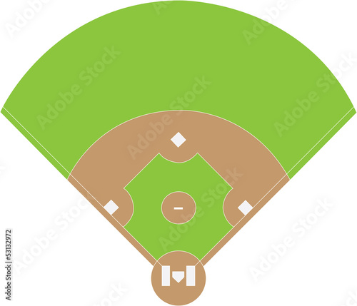 Baseball field overview white background