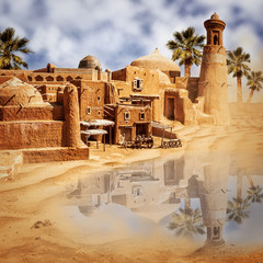 Old fantasy city and lake in the desert