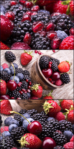 Poster tasty summer fruits on a wooden table