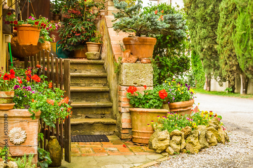 Beautiful decorated entrance to a house in the countryside, Ital - 53133949
