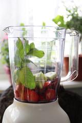Fresh fruits in the blender