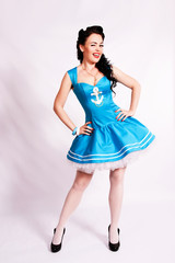 Sailor pin up girl with bright make up.
