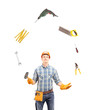 Manual worker juggling with tools