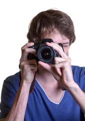 Junger Mann macht Fotos
