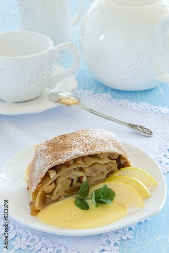 Viennese strudel with vanilla sauce.