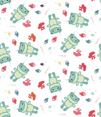 Diving cat. Seamless vector pattern