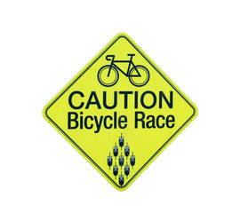 caution bicycle race, isolated