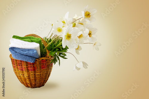 Bouquet of wild flowers and napkins set