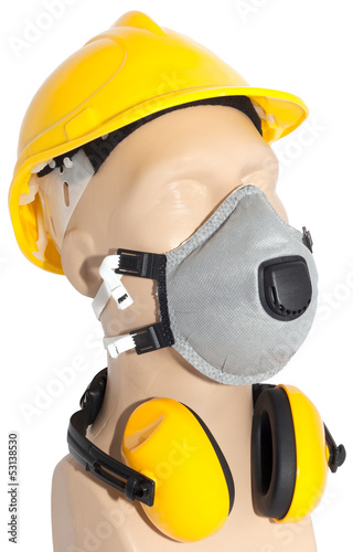 earmuff, Respirator and helmet (with clipping paths)
