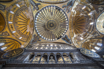 Ceiling and dome of Haghia Sophia, Istanbul, Turkey