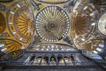 Ceiling and dome of Haghia Sophia, Istanbul, Turkey