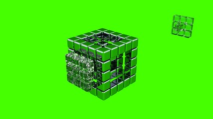3D Cubes - Assembling Parts - Green Background