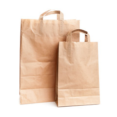 Two shopping paper bags isolated on white