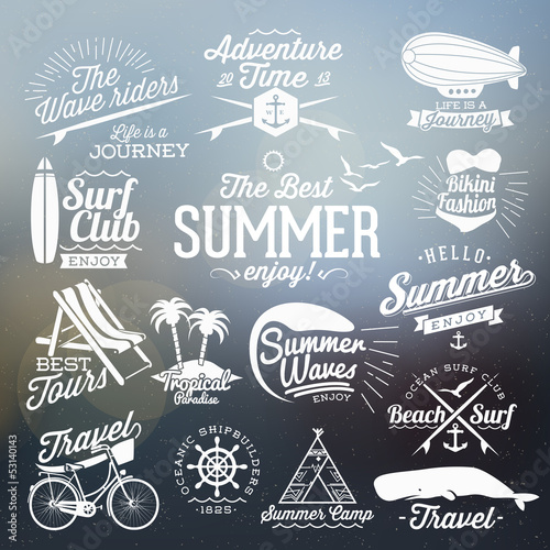 Vintage elements for Summer typographic designs
